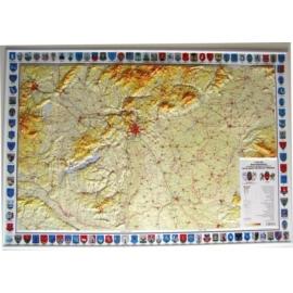 Magyarország általános földrajzi dombortérképe címerekkel
