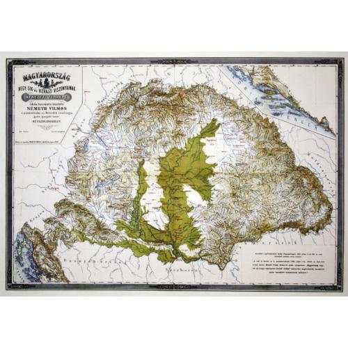 Magyarország hegy,-sík és vízrajzi viszonyainak átnézeti térképe